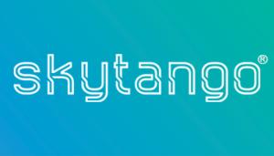 Skytango 360x205 Full Logo White on Gradient